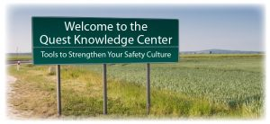 """Quest Safety Products' Knowledge Center billboard sign in a rural field. The sign says """"Tools to Strengthen your Safety Culture""""."""