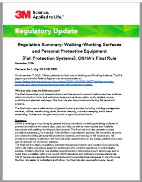 Regulation Summary: Walking-Working Surfaces and Personal Protective Equipment