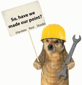 "A cute dog wearing a hard hat while holding a wrench and sign about heat stress prevention. The sign says ""so, have we mad our point? (hydrate, rest, shade)"""