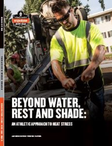 A road worker wearing hi-vis. Links to Beyond Water: Rest and Shade, an Ergodyne PDF covering the psychological affects dehydration has on the brain & the advised work-to-rest ratio.