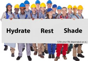 A group of construction workers wearing hard hats holding up a sign telling people to hydrate, be properly rested, and get in the shade. This is to prevent heat cramps and heat strokes.
