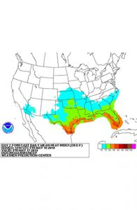 Heat index map of the southern United States. Links to NWS early heat forecast page.