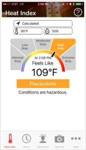OSHA Heat Safety App screenshot showing the feels like temperature and heat index, indicating a high risk. Links to OSHA's website.