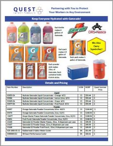 Gatorade and Sqwincher B2B, bulk order product catalog, available for sale. Links to a Quest Safety Products PDF.