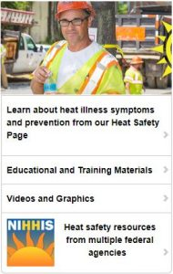 Construction worker holding a bottle of water, wearing a hi-vis safety vest, safety glasses, and hard hat. Links to OSHA Heat Illness Prevention Campaign Page.