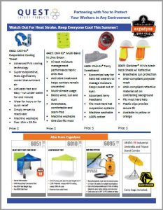 Shade and cooling products, such as hard hat sweatbands, hi-vis mesh neck shade hard hat attachments, Ergodyne worksite tents, and cooling towels. Links to a Quest Safety Products PDF.
