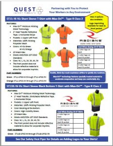 Hi-vis safety short sleeve shirts and T-shirts for outdoor workers Quest Safety Products PDF link.
