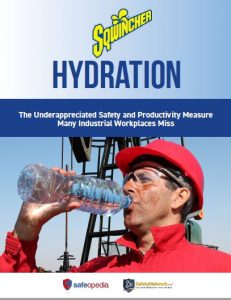 Links to Hydration: The Underappreciated Safety and Productivity Measures many Miss. Sqwincher PDF about safety and productivity measures businesses fail to comply with. A construction worker wearing a red hard hat and red shirt while drinking water.