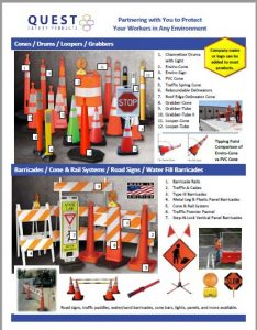"Traffic control products page, including 28"" and 36"" traffic cones, drums, barricades, road signage for worker safety."