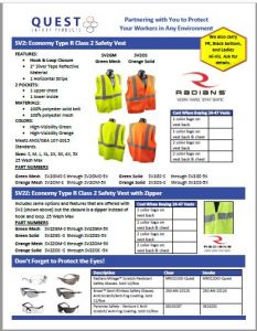 Hi-vis breathable safety vests for construction and road workers Quest Safety Products PDF link.
